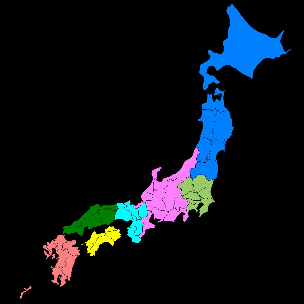 日本の地方|白地図ぬりぬり